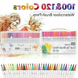 100 120 Color Dual Tip Brush Pen Watercolor Drawing Painting