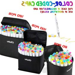 Ohuhu 100/80/60/40 Colors Dual Tips Art Sketch Twin Marker P