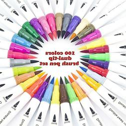 100 Color Dual Tip Brush Marker Pens Color Markers Set of  W