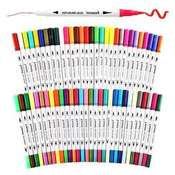 Dual Tip Brush Pens Art Markers by Tanmit, 0.4mm Fine liners