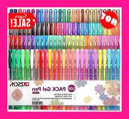 100 Unique Colors Gel Pens Set With Case Coloring Books Draw