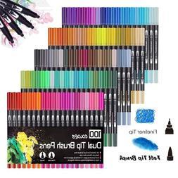 100PCS Colors Dual <font><b>Tip</b></font> <font><b>Brush</b