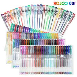 100Set Gel Pens Colored Glitter For Coloring Books Drawing A