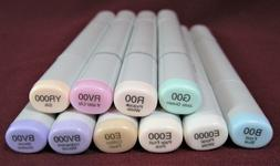 Various 00 /& 000 Lot of Soft Pastel Colors 6x Copic Sketch Dual-Tip Markers