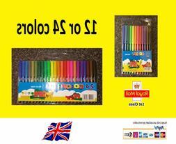 12/24 Color Pen Watercolor Marker Fine Tip Highlighter Pen F