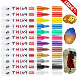 12 Assorted Colors 2.8mm Fine Tip Oil-based Quick Dry Perman