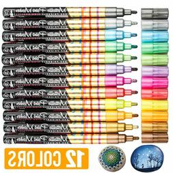 12 Assorted Colors 2mm Tip Oil-Based Permanent Ink Metallic