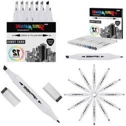 12 Color Super Markers Gray Tones Dual Tip Set - Double-Ende