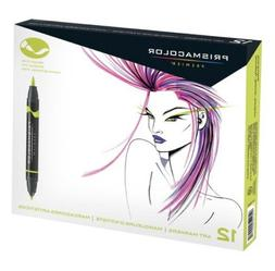 Prismacolor 12 Fine & Brush Tip Art Markers in Primary & Sec