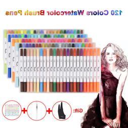 120 Brush Pen Set Markers Dual Tips Watercolor Paint Sketch