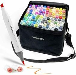120-Color Alcohol Art Markers Set, Ohuhu Dual Tip Brush & Ch