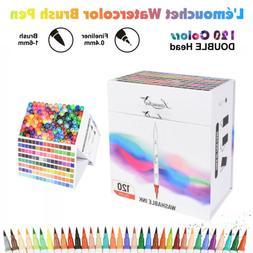 120 Color Dual Tip Brush Pen Watercolor Drawing Painting Ske