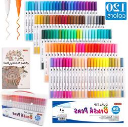 120 Colors Dual Tip Brush Art Marker Pens with 1 Coloring Bo