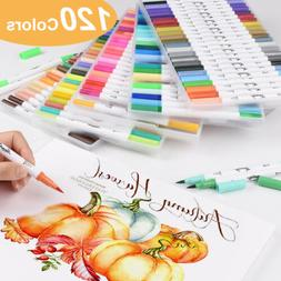 100/120Color Dual Tip Brush Marker Pen Watercolor Drawing Pa