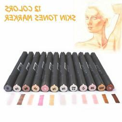12Pcs Skin Tones Marker Pen Set Alcohol Based Art Brush Tip