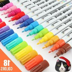 18 Bright Colors 0.7mm Fine Tip Water-Based Permanent Acryli