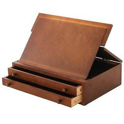 US Art Supply 2-Drawer Adjustable Wooden Storage Box with Fo