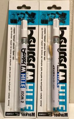2 New Pentel Fine Bullet Point Tip White Marker X100-WS Made