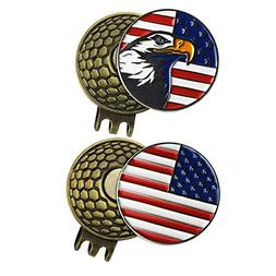 PINMEI 2 Sets of Golf Ball Markers with Magnetic Golf Hat Cl