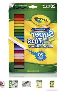 Crayola 20 Ct Washable Super Tips Markers 20 Color Variety L