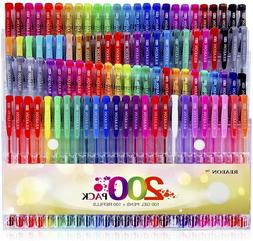 200 Gel Pens for Coloring Books 100 Color Gel Markers Plus 1
