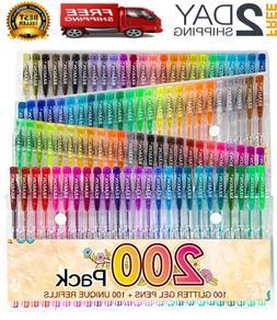 200 Glitter Gel Pen Set, 100 Gel Markers Plus 100 Refills Gl