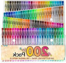 200 Glitter Gel Pen Set, Reaeon 100 Gel Markers Plus 100 Col