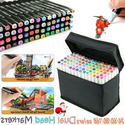 24-168 Colors Dual Tips Sketch Marker Art Drawing Mark Pen B