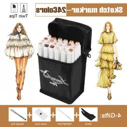 24 Color Skin Markers Pen Touch New Graphic Art Sketch Drawi