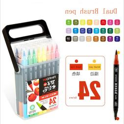 24 Colors Superior Black-pole Double-Headed Mark Pen Set Art