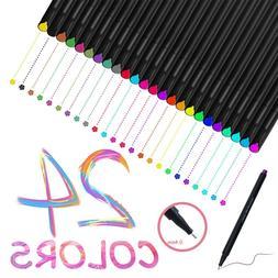 24 Fineliner Color Pen Set 0.4mm Fine Line Drawing Pen Porou