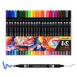 24 Marker Pens - Dual Tip Brush Pens with Fineliner Tip 0.4m