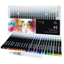 24 Watercolor Paint Brush Pens - Markers for Water Color Cal