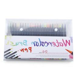 25pcs Watercolor Brush Pens Set Water Paint Markers Coloring