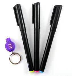 3 Invisible Ink Marker Pen 1 UV Flashlight Black Light React