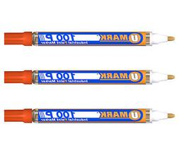 3 Pack - Orange Valve Action Metal Paint Marker U-Mark, Made