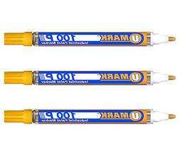 3 Pack - Yellow Valve Action Metal Paint Marker U-Mark, Made