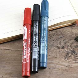 3 PCS Marker Pen Waterproof Permanent Plastic Fat School Sta
