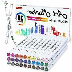 30 Colors Dual Tip Alcohol Based Art Markers Pens Adult Colo