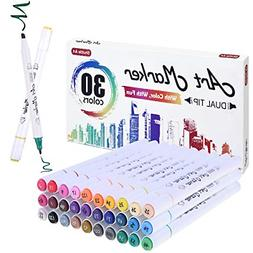 30 Colors Dual Tip Based Art Markers Shuttle Art Alcohol Mar