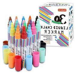30 Colours Liquid Chalk Markers,Shuttle Art Erasable Chalk P