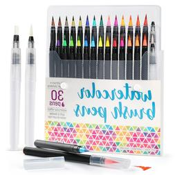 30PCS Watercolor Paint Brush Pens Markers for Water Color Ca