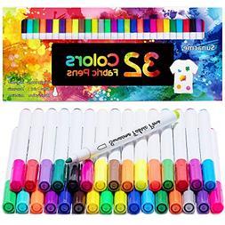 32 Colors Permanent Fabric Paint Pens Art Markers Set Child
