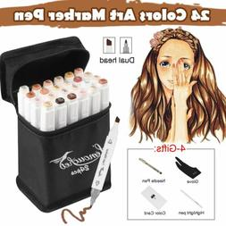 24 Color Skin Markers Pen Stone Graphic Art Sketch Drawing A
