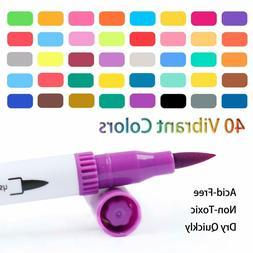 36 Dual Pens Dual Tip Brush Marker Pens,Tanmit 0.4 Fine Tip