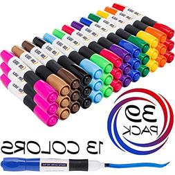 June Gold 39 Assorted Colored Dry Erase Whiteboard Markers,