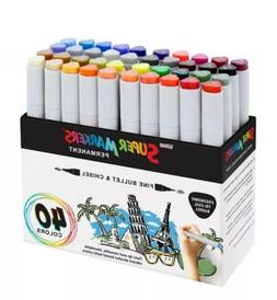 40 Color Super Markers Primary Tone Set, Dual Tip Chisel & B