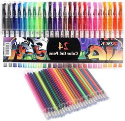 48 Glitter Gel Pens Fine Point Markers Art Set,