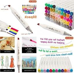 50 colours dual tip markers permanent marker