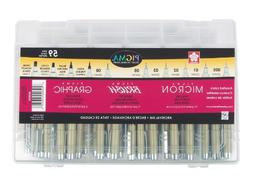 Sakura Pigma Micron Fineline Pen Artist Set, 59CT, Ass't Col